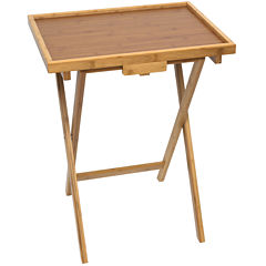 Bamboo Snack TV Tray Table with Lip