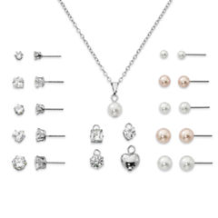 Womens CZ and Simulated Pearl Jewelry Set