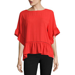 Worthington Short Sleeve Scoop Neck Dobby Blouse