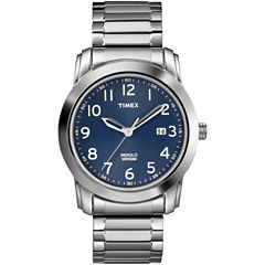 Timex® Mens Silver-Tone Blue Dial Expansion Watch