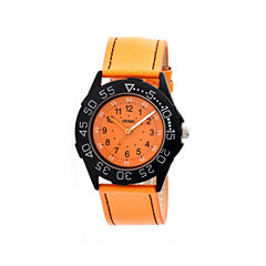 Crayo Womens Fun Orange Leather-Band Watch Cracr2504