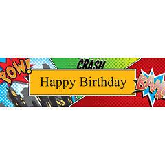 Superhero Comics Birthday Banner