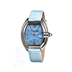 Bertha Womens Chloe Mother-Of-Pearl Powder Blue Leather-Band Swiss Watchbthbr3404