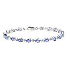 LIMITED QUANTITIES Genuine Pear-Shaped Tanzanite Sterling Silver Bracelet