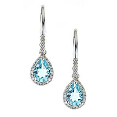 LIMITED QUANTITIES Genuine Aquamarine 10K White Gold Drop Earrings