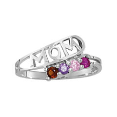 Womens Multi Color Multi Stone Sterling Silver Cocktail Ring