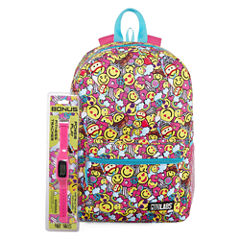 SMILEY FACE BACKPACK WITH BONUS FITNESS WATCH
