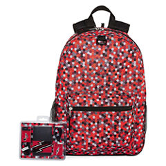 Red Digi Print Back Pack with Power Bank & Earbud