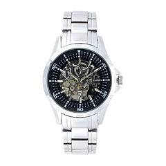 Elgin Mens Skeleton Silver-Tone Automatic Watch