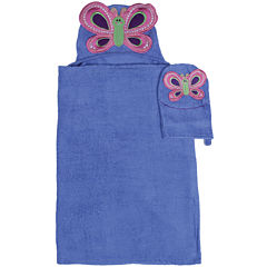 Butterfly Hooded Towel and Wash Mitt Set