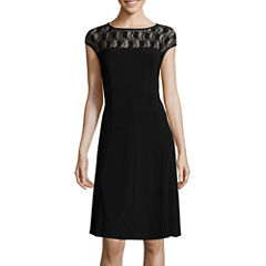 Black Label by Evan-Picone Sleeveless Lace-Yoke Fit-and-Flare Dress