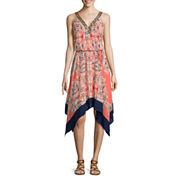a.n.a® Sleeveless Print Asymmetric-Hem Dress with Beaded Neck