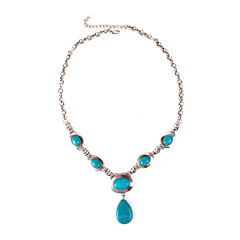 Aris by Treska Blue and Silver-Tone Pendant Necklace