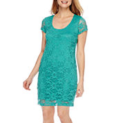 Tiana B. Short-Sleeve Lace Sheath Dress - Petite