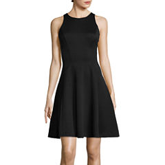 Liz Claiborne® Sleeveless Textured Knit Fit-and-Flare Dress
