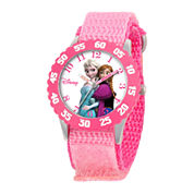 Disney Frozen Anna & Elsa Kids Time Teacher Pink Nylon Strap Watch