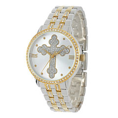 Personalized Crystal-Accent Two-Tone Cross Watch