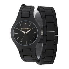 Personalized Dial Womens Diamond-Accent Black Wrap Bracelet Watch