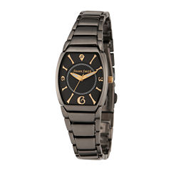 Personalized Dial Womens Diamond-Accent Black Bracelet Watch