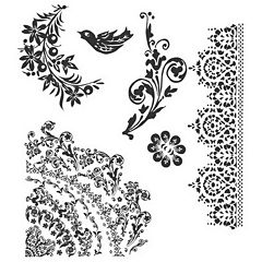 Tim Holtz® Cling Rubber Stamp Set, Floral Tattoo