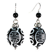 Aris by Treska Black Silver-Tone Disc Earrings