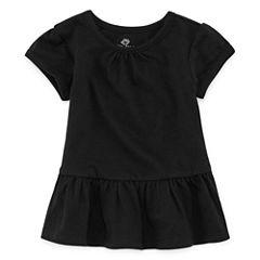 Okie Dokie Short Sleeve Round Neck T-Shirt-Baby Girls