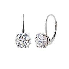Genuine White Topaz Sterling Silver Leverback Earrings