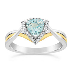 Womens 1/10 CT. T.W. Blue Aquamarine 10K Gold Crossover Ring