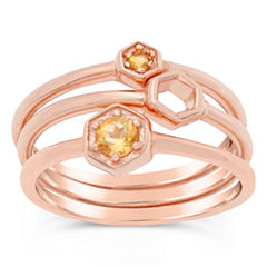 Womens Round Yellow Citrine 18K Stackable Ring