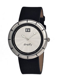 Simplify Mens The 1300 Silver Dial Leather-Band Watch With Date Sim1301
