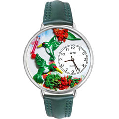 Whimsical Watches Personalized Hummingbird Womens Silver-Tone Bezel Green Leather Strap Watch