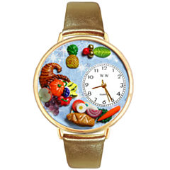 Whimsical Watches Personalized Holiday Feast Womens Gold-Tone Bezel Tan Leather Strap Watch