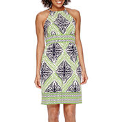 London Style Collection Sleeveless Printed Fit-and-Flare Dress