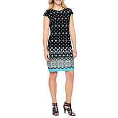 Liz Claiborne Short Sleeve Diamond Shift Dress