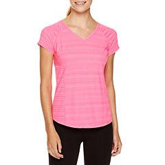 Xersion Short Sleeve V Neck T-Shirt-Petites