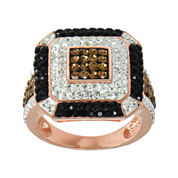14K Rose Gold Over Silver Crystal Square Ring