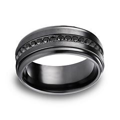 Mens Comfort Fit 9mm Black Titanium and Cubic Zirconia Wedding Band