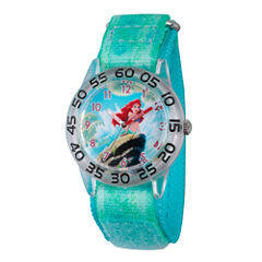 Disney Girls Green and Silver Tone Ariel The Little Mermaid Time Teacher Strap Watch W002910