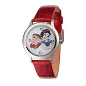 Disney Princess Red Glitz Snow White Time Teacher Strap Watch W002925