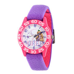 Disney Princess Girls Purple and Pink Tangled Time Teacher Strap Watch W002969