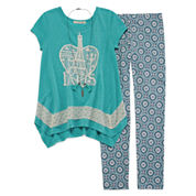 Self Esteem® Crochet Trim Tunic and Leggings Set with Necklace - Girls 7-16 and Plus