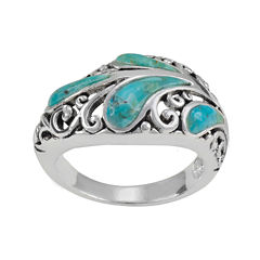 Simulated Turquoise Pure Silver-Plated Filigree Ring