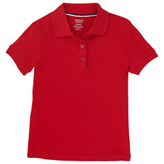 French Toast Short Sleeve Interlock Polo With Picot Collar Short Sleeve Solid Polo Shirt - Big Kid Girls