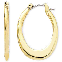 Liz Claiborne® Gold-Tone Oval Hoop Earrings