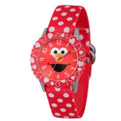 Sesame Street Red Polka Dot Elmo Time Teacher Strap Watch W003163