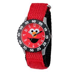 Sesame Street Red And Black Elmo Time Teacher Strap Watch W003164