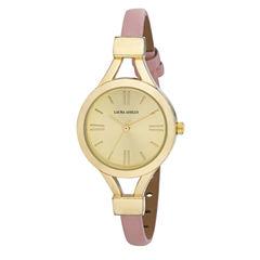 Laura Ashley Womens Pink Thin Strap Gold Case Watch La31011Yg