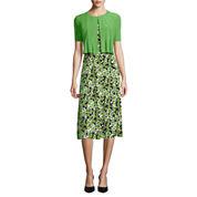 Danny & Nicole® Elbow-Sleeve Circle Print Bolero Jacket Dress