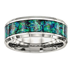 Mens Simulated Blue Opal Stainless Steel Wedding Band
