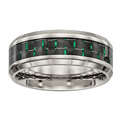 Mens Titanium With Black & Green Carbon Fiber Inlay Wedding Band